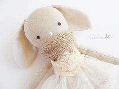 FREE SHIPPING! Emily - linen bunny doll - Easter gift for girls - girl nursery decor - handmade doll - dress doll -  rag doll - textile toy