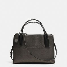 The Mini Turnlock Borough Bag With Chain In Metallic Leather from Coach  -  the metallic black is cute, but too small.     lj