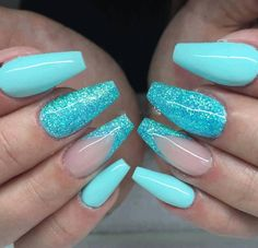 Oct 2017 - Tiffany Blue Nails glitter ✨ summer nails Blue Glitter Nails, Blue Acrylic Nails, Summer Acrylic Nails, Summer Nail Polish, Fancy Nails, Pretty Nails, Hair And Nails, My Nails, Nails Polish