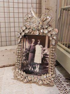 Vintage Jeweled Rhinestone & Crystal Photo Picture Frame❤❤❤