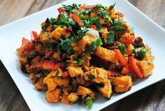 Ryan Bakes: Roasted Sweet Potato Salad with Red Bell Pepper - Bulgur Salad Southern Style Potato Salad, Salad With Sweet Potato, Sweet Potato Recipes, Grilled Sweet Potatoes, Cooking Sweet Potatoes, Top Recipes, Healthy Recipes, Healthy Meals, Recipies