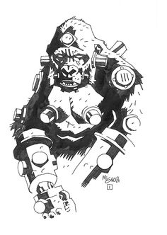 Mike Mignola - Krieghaffe original comic art pinup published in The Art of Hellboy