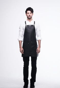 Real Cowhide Apron Black with White Stitches by by ARC1designLab