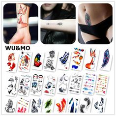 ce7d97cbf537e Colorful Butterfly Fox Feather Body Art Sexy Harajuku Waterproof Temporary  Tattoo For Man Woman Henna Fake Flash Tattoo Stickers Price: USD