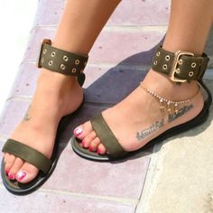 fb5dd449a Save on these gorgeous flat sandals with buckle accent