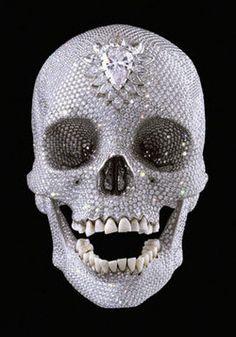 diamonds on my neck, diamons on my grill skull by damien hurst