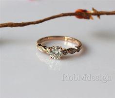 VS 5mm Round Cut Moissanite Ring Art Deco Engagement Ring In 14k Rose Gold Ring Wedding Ring Gemstone Engagement Ring