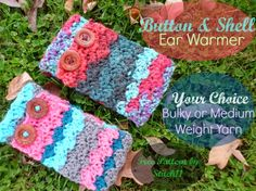 Shell and Button Crochet Ear Warmer - Free Pattern