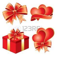 RIBBON OF COLOUR: ensemble de symboles de vecteur pour la Saint Valentin Illustration