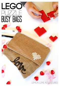 Lego Busy Bags with Puzzles | What a fun valentine center for independent work