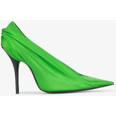 Balenciaga 110 Satin Knife Pumps (3310 QAR) ❤ liked on Polyvore featuring shoes, pumps, green, high heel shoes, balenciaga shoes, party pump, pointed-toe pumps and pointy-toe pumps