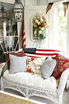memorial day crafts to commemorate our heroes, crafts, seasonal holiday decor, Patriotic Sunporch via Common Ground Memorial Day, Memorial Poems, Fourth Of July Decor, July 4th, Summer Porch Decor, Savvy Southern Style, Home Of The Brave, Patriotic Decorations, Patriotic Party