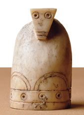 An ivory pawn from a ninth- or 10th-century Arab set.