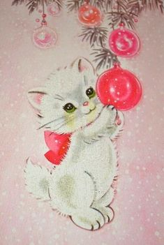 Image detail for -Vintage Christmas Card Pink Christmas Kitten Cat by pumpkintruck - JENNY ENVY - Cat Christmas Cards, Christmas Kitten, Merry Christmas, Homemade Christmas Cards, Christmas Diy, Christmas Decorations, Christmas Ornaments, Handmade Christmas, Christmas Pictures