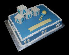 blue and white baby block and rattle baby shower sheet cake by Simply Sweets, via Flickr