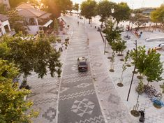 Gallery of Albanian Carpet / Casanova + Hernandez Architects - 2 Public Square, Public Realm, Floor Patterns, Small Trees, Large Homes, Stone Tiles, Urban Planning, Pavement, Photos