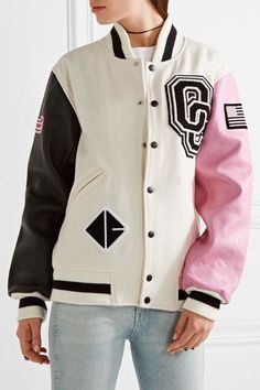 Opening Ceremony - Appliquéd Wool-blend Twill And Leather Bomber Jacket - Cream - medium