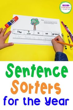 A YEAR LONG set of Kindergarten and 1st grade sentence sorters for beginning readers and writers! These cut and glue sentences are perfect for small group work, morning work, homework and classwork as they provide helpful practice in sight words, sentence structure, and punctuation! Kindergarten Names, Kindergarten Writing Activities, Literacy Skills, Literacy Centers, Sentence Structure, Reading Centers, Early Readers, Group Work, Morning Work