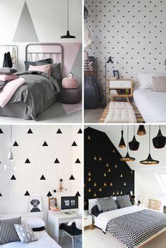 adesivo de parede triangulo nos quartos. adesivo para parede. adesivo geometrico. decoracao barata. diy decoracao. Faça você mesma a decoração da sua parede. parede decorada. Papel de parede. Adesivo de parede triangular.