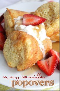 Very Vanilla Popovers - Doughmesstic Muffin Tin Recipes, Fun Baking Recipes, Brunch Recipes, My Recipes, Breakfast Recipes, Dessert Recipes, Cooking Recipes, Favorite Recipes, Desserts