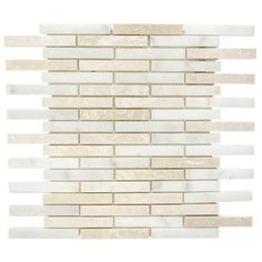 Jeffrey Court Malibu Mini Brick 12 in. x 14 in. x 8 mm Beige/White Marble Mosaic Wall Tile-99723 - The Home Depot