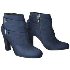 Women's Sam & Libby Sadie Heeled Ankle Boot with Straps - Navy ($40) ❤ liked on Polyvore featuring shoes, boots, ankle booties, ankle boots, high heel ankle booties, zip ankle boots, short boots, high heel bootie and high heel ankle boots