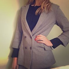 Gray quarter-length sleeve blazer Hinge blazer (from Nordstrom). size medium - I usually wear small everything but went with medium on this one to have it looser and more casual. great condition. can be dressed up to be professional, but is loose enough to be casual as well. Hinge Jackets & Coats Blazers