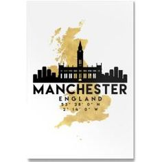 Shop for Noir Gallery Minimal Manchester Skyline Unframed Art Print/Poster. Get free delivery On EVERYTHING* Overstock - Your Online Art Gallery Store! Manchester England, Manchester Map, Map Canvas, Canvas Wall Art, Liverpool Skyline, Map Of Great Britain, Framed Art Prints, Poster Prints, Manchester City Centre
