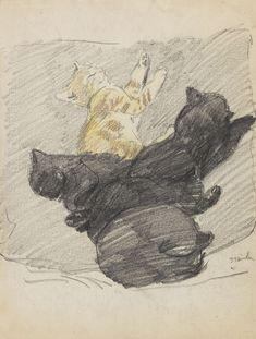 Théophile Alexandre Steinlen (1859-1923) - Cinq chats endormis, c. 1915