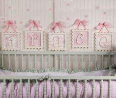 pink hanging framed letters
