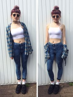 Superdry Flannel Shirt, Boohoo Crop Top, Topshop High Waisted Joni Jeans, Topshop White Frilly Socks, Underground Double Sole Creepers, Ray Ban Vintage Sunglasses, Topshop Ankh Earrings, Topshop 90s Tattoo Choker