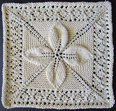 Leaf and lace counterpane square knit from a Victorian era knitting  pattern. (Chart and written pattern) 7e9dcc231642