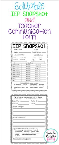 These forms are a must have for all special education and general education teachers for your special education students. These forms provide a quick glance at your students IEP's and a quick way to gather feedback and information from other teachers. These are also editable!