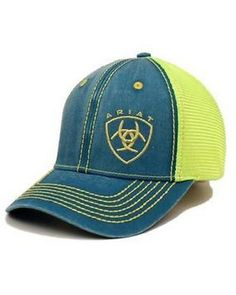 super popular 9d220 b98a9 Ariat® Unisex Turquoise Neon Yellow Logo Mesh Cap Western Wear, Western  Boots,