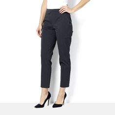160238 H By Halston Ankle Length Straight Leg Trousers with Bi-Stretch QVC Price: £44.01 + P&P: £3.95 or 3 Easy Pays of £14.67 +P&P in 2 colour options A pair of straight-leg ankle length trousers from H by Halston with front slot pockets and elasticated sides at the waistline. These comfortable yet chic trousers are perfect for pairing with blouses or shirts for week or even for smartening up a daytime outfit at the weekend.