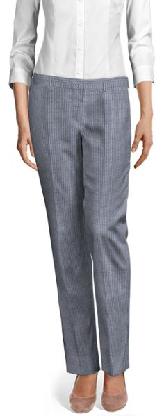 Design your Custom Made to Measure womens dress pants at Sumissura. High waist or normal, Pleated, slim fit or wide-leg, wool or linen pants. Discover the luxury of Made to Measure at an Affordable price Linen Pants, Blue Stripes, Dress Pants, Custom Made, Capri Pants, Spring Summer, Legs, Chic, Fitness
