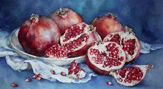 Exquisite Food Illustrations by Olga Moskaleva – Fubiz Media Watercolor Fruit, Fruit Painting, Watercolor And Ink, Pomegranate Art, Still Life Drawing, Acrylic Painting Lessons, Great Paintings, Fruit And Veg, Fruit Food