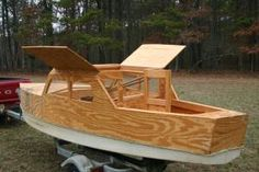 I saw this South Jersey craigslist ad posted on the Sunfish Forum. Hand crafted replica of a Cabin Cruiser . Great Advertising piece for a Nautical themed business Seafood Restau Wooden Model Boats, Wooden Boat Building, Wooden Boat Plans, Boat Building Plans, Wooden Boats, Small Pontoon Boats, Small Boats, Cabin Cruiser Boat, Shanty Boat