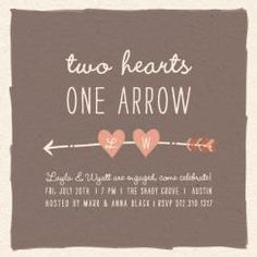 Two Hearts One Arrow Party Invitations