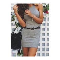 Round Neck Sleeveless Above Knee Length Dress (€17) ❤ liked on Polyvore featuring dresses, grey, sleeveless sheath dress, long-sleeve mini dress, cotton dress, gray sheath dress and sheath dress