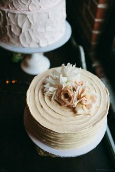 Simple wedding cakes, with real buttercream frosting.