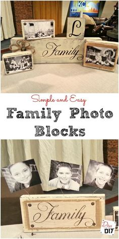 diy gifts These easy handmade photo blocks are perfect for everyone on your gift list. Add photos or a family name for a personal touch. Diy Mothers Day Gifts, Diy Gifts For Kids, Easy Diy Gifts, Craft Gifts, Handmade Gifts, Diy Photo, Photo Craft, Family Christmas Gifts, Gifts For Family