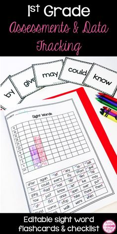 Use these 1st grade assessment and data tracking folders to keep track of how your students are doing in reading and math. These are great for monthly check-ins or report card time. These editable flashcards and checklist can be used to see what sight words your 1st graders know.