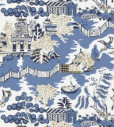 Luzon wallpaper from Thibaut - - Blue Accent Wallpaper, Powder Room Wallpaper, Bathroom Wallpaper, Disney Tapete, Diy Projects Cans, New Bathroom Ideas, Whatsapp Wallpaper, Chinoiserie Wallpaper, Willow Pattern