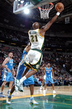 Damien Wilkins of the Seattle SuperSonics goes to the basket against the  Denver Nuggets on February 27 2008 at the Key Arena in Seattle Washington. eab893aa1