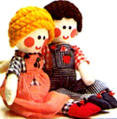 PDF Vintage 'Jolly' Girl & Boy Rag-Dolls Sewing Pattern, with Dolls Clothes Wardrobe to make, Traditional, Novel, Childrens Toyx
