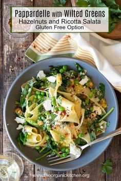 Pappardelle with Wilted Greens (Gluten Free Option) Quick Vegetarian Dinner, Vegetarian Dinners, Gluten Free Pasta, Gluten Free Recipes, Vegan Recipes, Appetizer Recipes, Salad Recipes, Appetizer Ideas, Pasta Recipes