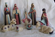 Serene Style Ceramic Nativity Tan with Plum Mauve by OliviaKsGifts