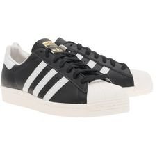ADIDAS ORIGINALS Superstar 80s Black White // Flat leather sneakers (€109) ❤ liked on Polyvore