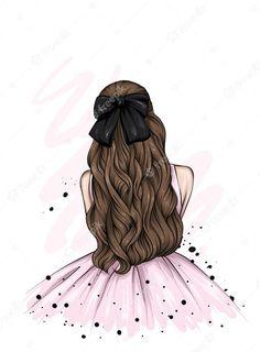 Beautiful Girl Drawing, Cute Girl Drawing, Cute Love Wallpapers, Cute Cartoon Wallpapers, Girl Cartoon, Cartoon Art, Cute Anime Girl Wallpaper, Theme Mickey, Photos Booth